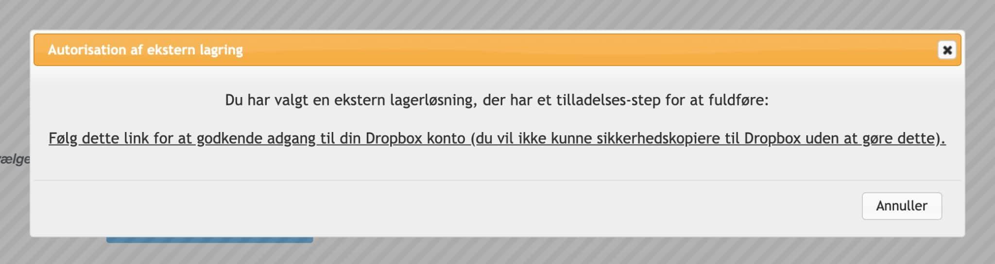 Godkend Dropbox i UpdraftPlus